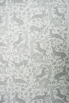 Battle Great Wood Linen A stunning block print style design in pale grey on a white linen. Hand silk screened in England