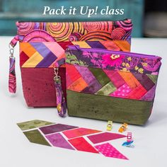 I am going to be teaching how to use my Mini Braid Template while making this cute bag at a local quilt shop! Sat Jan at 10 am at… Cork Fabric, Fabric Bags, Fabric Basket, Patchwork Bags, Quilted Bag, Bag Patterns To Sew, Sewing Patterns, Quilted Purse Patterns, Pochette Diy
