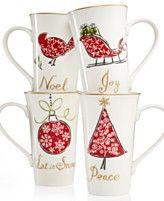 222 Fifth Natale Set of 4 Latte Mugs