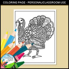 Zentangle Turkey Coloring Page