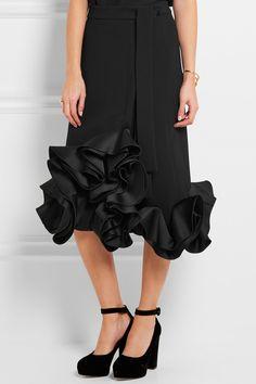 Victoria, Victoria Beckham | Ruffled duchesse-satin and crepe skirt | NET-A-PORTER.COM