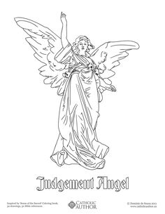 Biblical Angel - Free Hand-Drawn Catholic Coloring Pictures