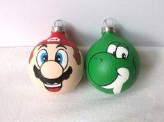 Super Mario Yoshi Hand Painted Ornament Set Nintendo nes MADE TO ORDER. $30.00, via Etsy.
