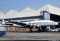 Lockheed L-049E Constellation 5Y-ABF (cn 1977) Retains the colours of its previous operator Euravia and was registered G-AHEL prior to sale to BritAir. This aircraft was finally withdrawn from service at Shannon May 1966 and eventually broken up.