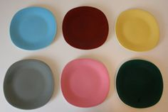 Pastel Urban Funky Mid Century Modern Rounded Square Multi-colored Dinner Dessert Salad Plate Set 6 Plates from Belgium