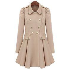 Lady Fashion Puff Sleeves Narrow-waisted Coat – USD $ 55.29