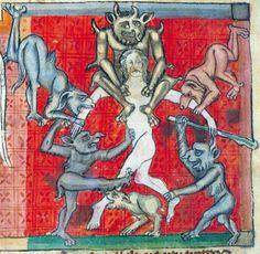 Biting devils, Apocalypse, France 1220-1270 (Toulouse, Bibliothèque municipale, Ms 815, fol. 60v)