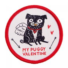 Whether you're a pug lover or just a little bit in love this ones for you! This wonderful iron on patch designed by Gemma Correll would look great on your favourite tote, denim jacket or dungarees!   Details:  D: 5.5cm Instructions on reverse.