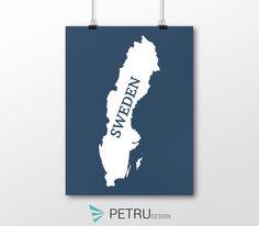 Sweden print - Sweden art - Sweden poster - Sweden wall art - Sweden printable poster - Sweden map - Sweden navy art - Instant download by Exit8Creatives on Etsy