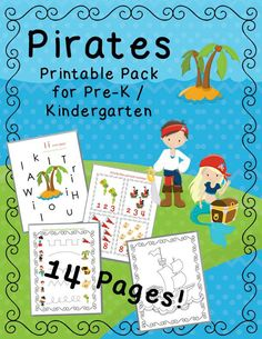 FREE Pirate Lesson Pack! 14 fun pages for your children to practice their phonics, math, and fine motor skills!