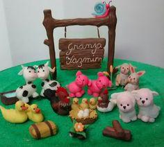 Animales de granja realizado en porcelana fria
