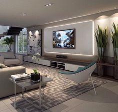Sala em cinza e branco com tv na parede - Hüseyin Akman - Living Room Modern, Home Living Room, Living Room Decor, Small Living, Living Tv, Home Theater Design, Home Interior Design, Design Interiors, Living Room Theaters