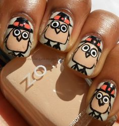 Cute Turkey Day Nail Art from Haute Lacquer featuring Zoya Nail Polish in Avery: Happy Turkey Day!