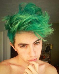 Cabello verde turquesa hombre Hairstyle men | Green Hair YouTube Damián Cervantes