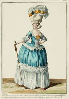 One must not omit the Tronchin cane,* also known as a high rod, which since 1770 has taken such favor among people of the fair sex. The cane is always incompatible with the grande parure, and always characterizes demi-négligé dress.