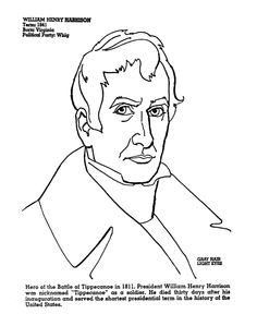 President Harrison Coloring Page