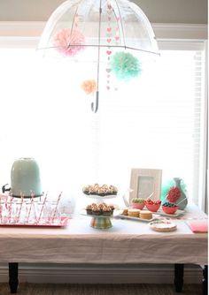 rainy day tea! #party #decor #decorations #dessert #table #rainyday #umbrella