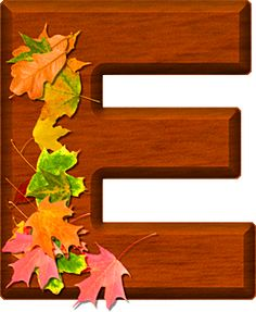 Presentation Alphabets: Cherry Wood Leaves Letter E