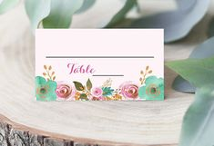 PDF Printable Seating Card Tent Card Wedding Instant