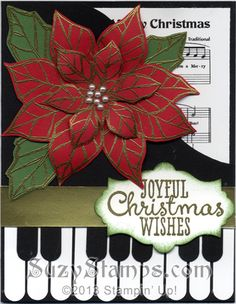 Stampin' Up! Cards - 2013-11 Holiday Cards Class, Piano Christmas Card, Joyful Christmas Stamp Set, Gold Embossing Powder, Gold Foil Sheets, Apothecary Accents Dies, Word Window Punch