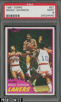 11770bc4d21 1981 Topps Basketball #21 Magic Johnson Los Angeles Lakers HOF PSA 9 MINT  #BasketballCards