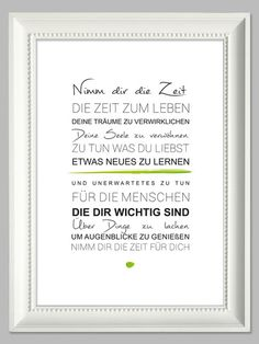 "Original print - ""Take your time"" The Words, Cool Words, Words Quotes, Life Quotes, Sayings, German Quotes, German Words, Best Quotes, Quotations"