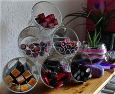 DIY Lipstick Tower out of Old Candle Jars