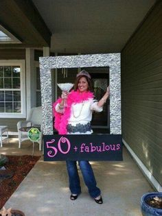 A 50 fabulous photo prop for a birthday party. See more planning a birthday party ideas at www.one-stop-part. Moms 50th Birthday, 70th Birthday Parties, 50th Party, Birthday Woman, Birthday Celebration, 60th Birthday Ideas For Mom Party, Fifty Birthday, 50th Birthday Themes, Birthday Crafts