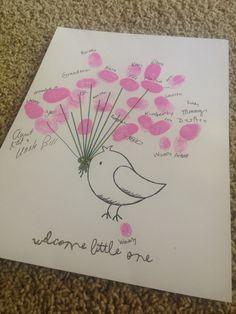 Baby shower little bird thumbprint guestbook