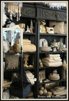 shop decor with a Parisian theme.Roses & Rutabagas ~ The black is a great backdrop to all the cream coloured accessories Vintage Market, Vintage Shops, Antique Booth Ideas, Parisian Decor, Store Displays, Booth Displays, Vintage Display, Looks Vintage, Vintage Black
