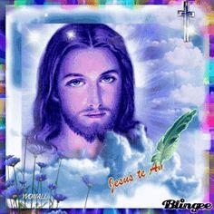 Ver imagen de Jesús en un lindo marco de colores rodeado de nubes y un cruz con movimiento y brillo y junto a la frase que se dibuja con una pluma: Jesús te Ama