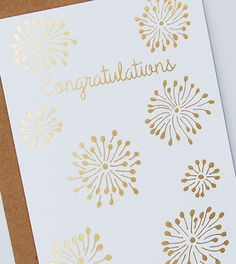 Congratulations Fireworks Gold Foil Stamped Greeting Card by Happy Cactus Designs