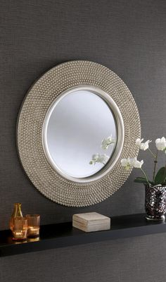 Rome Large Round New Wall Mirror Modern Champagne Silver Frame Art Deco 31 Diam Extra Large Round Mirror, Round Mirrors, Mirror Wall Collage, Silver Wall Mirror, Framed Wall, Wall Mirrors, Mirror Vanity, Mirror Bedroom, Mirror Mirror