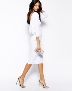 White Cowl Back Midi Evening Dress