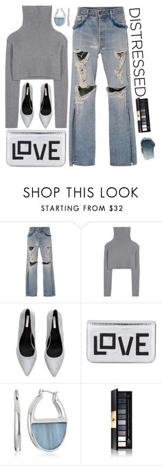 """True Blue: Distressed Denim"" by polivorka-polivorochka ❤ liked on Polyvore featuring Jonathan Simkhai, Valentino, Les Petits Joueurs, Kenneth Cole, Yves Saint Laurent and distresseddenim"