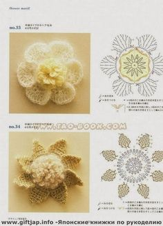 Crochet y dos agujas: Flores en 3D tejidas con ganchillo estilo crochet ...