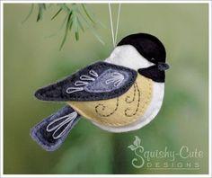 chickadee sewing pattern, chickadee ornament, felt bird