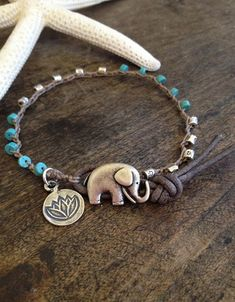 "Elephant -Turquoise & Leather Wrap 'Boho Chic""  Rustic Silver Lotus $26.00"