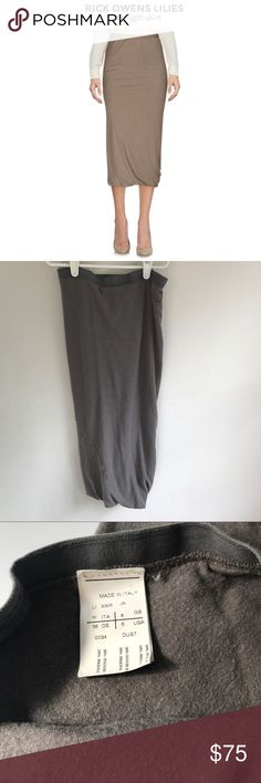 Rick Owens Lilies 3/4 Skirt Worn fabric. Purchased on PM, but did not like the fit. Slate color. Composition: 30% Polyamide, 30% Viscose, 20% Angora wool, 20% Wool Details: lightweight sweater, knitted, basic solid color, elasticized waist, no appliqués, no fastening, no pockets, lined interior, tube dress Measurements: Length 29.25 inches Rick Owens Skirts Midi
