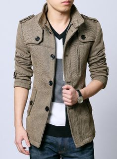 British Style Stand Collar Mens Fashion Casual Jacket Grey Khaki Winter L112; Etsy, $85.99