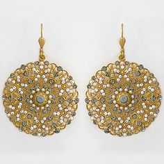 """Bejeweled Pearl & Crystal Gold Filigree Earrings.  Who can say :""""no"""" to such delicate pearls? Designed by Catherine Popesco."""