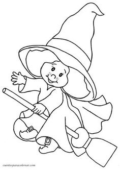 witch coloring page Halloween Coloring Pictures, Halloween Coloring Sheets, Halloween Pictures, Theme Halloween, Holidays Halloween, Halloween Crafts, Cool Coloring Pages, Coloring Pages For Kids, Coloring Books