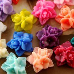 18pcs Wholesale Beautiful Mix Colorful Ruffle Rose Flower Resin Cabochon   -18colors  -17x15mm(CAB-NA -MIXSS ). $6,80, via Etsy.