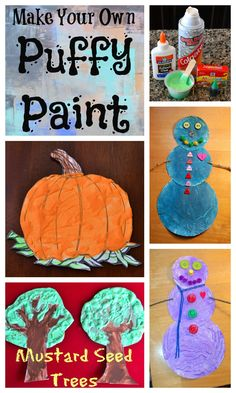 {Simple} Homemade 3D Puffy Paint & Project Ideas --simple & cheap to make yourself!  #DIY #paint #kids