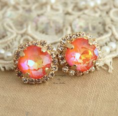 14k Yellow Gold Plated Stud #Earrings With Swarovski Orange Rhinestone Crystal #Stud