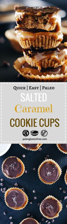 Paleo Diet recipe for healthy salted caramel cookie dough cups; could anything be any better?! Healthy homemade caramel recipe. Gluten free cookie dough. Easy Gluten free desserts. Best paleo cookie. No bake gluten free cookies.