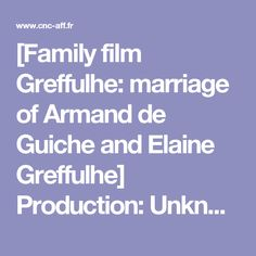 [Family film Greffulhe: marriage of Armand de Guiche and Elaine Greffulhe]  Production: Unknown Country of production: France Year of production: 1904 Release year: 1904 Genre: Family Movie Image: Black and White Sound: Mute Footage: Short Location (s): Paris (Paris) Key Words: Aristocracy; Wedding; Portrait Place (s) of consultation: Bois d'Arcy; CNC to the BnF  Summary Generic Interpretation On November 14, 1904, Elaine Greffulhe married the Duke Armand de Guiche. In front of the crowd…