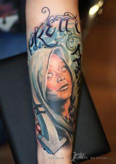Nova Mary Tattoo By Robert Witczuk Colour Tattoos, Mary Tattoo, Nova, Portrait, Color, Headshot Photography, Colour, Portrait Paintings, Drawings