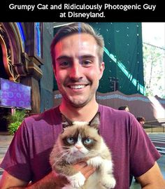 Ridiculously Photogenic Guy with Grumpy Cat and Disneyland: Epic meme meeting! Grumpy cat and ridiculously photogenic guy together! The internet is experie Photogenic Guy, Most Famous Memes, The Meta Picture, Little Panda, Cat Facts, I Love To Laugh, Grumpy Cat, Grumpy Dwarf, Funny Photos