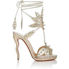 Christian Louboutin Women's Venenana Leather Ankle-Tie Sandals ($1,545) ❤ liked on Polyvore featuring shoes, sandals, heels, louboutin, gold, platform sandals, ankle strap platform sandals, high heel sandals, ankle tie sandals and leather shoes